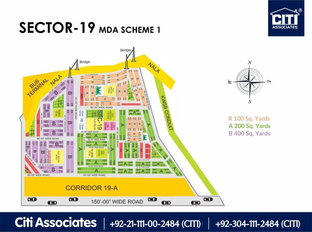 New Malir Housing Scheme 1 Karachi – Sector 19 Map : MDA Karachi on