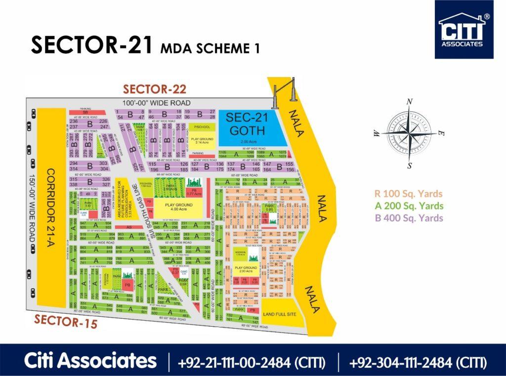 New Malir Housing Scheme 1 Karachi – Sector 21 Map : MDA Karachi