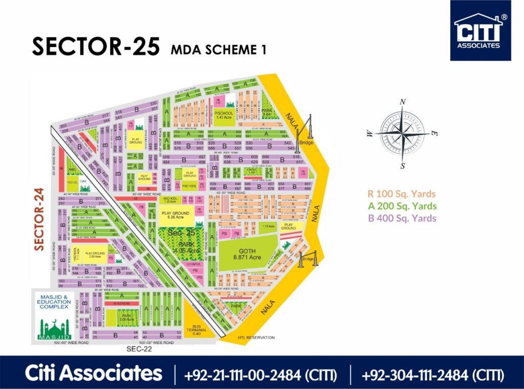 New Malir Housing Scheme 1 Karachi – Sector 25 Map : MDA Karachi