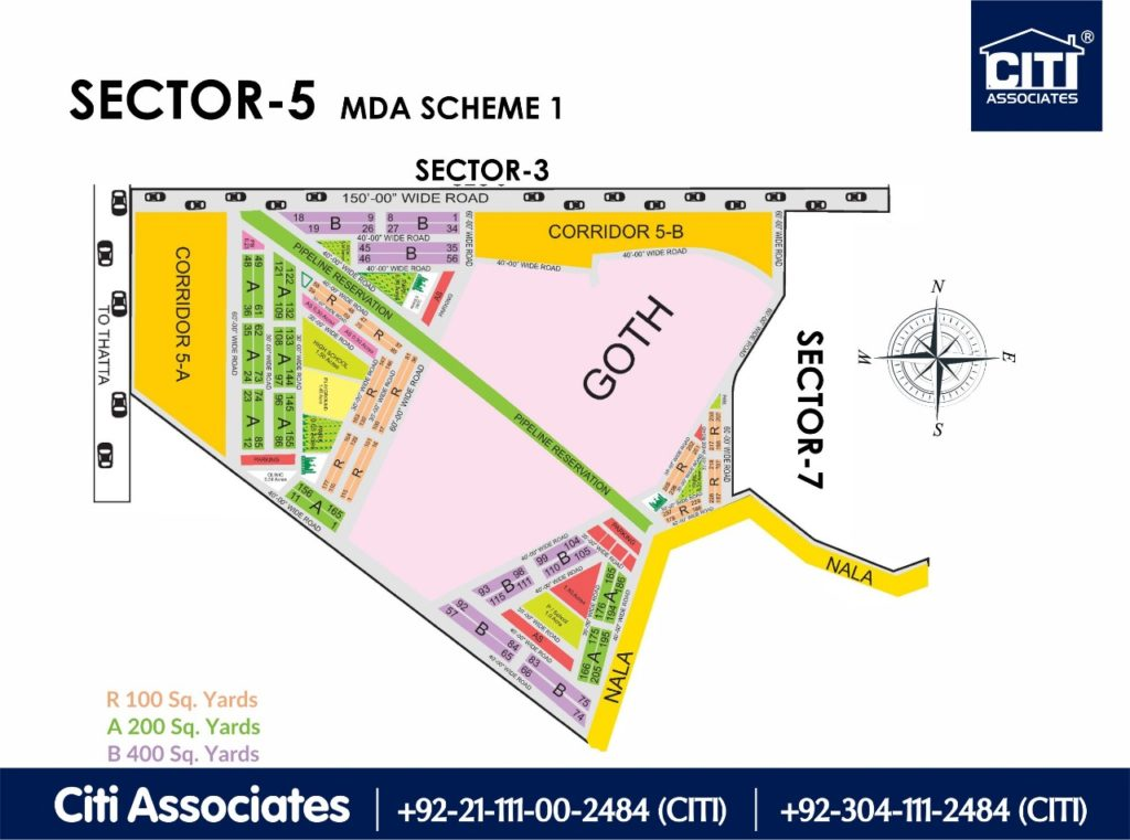 New Malir Housing Scheme 1 Karachi – Sector 5 Map : MDA Karachi