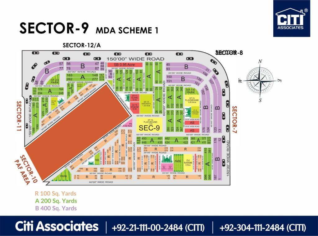 New Malir Housing Scheme 1 Karachi – Sector 9 Map : MDA Karachi